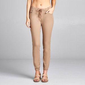 Ladies fashion waist drawstring elastic hem pants